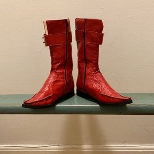 Red Patent Leather Pointy Toe Italian Boots EU 38